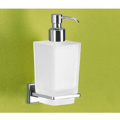 Wall Mounted Satinized Glass Soap Dispenser with Chrome Holder, 2-7/10'' L x 4-1/10'' W x 6-4/5'' H, Chrome