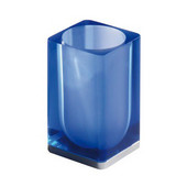 Square Resin Toothbrush Holder, 2-9/10'' L x 2-9/10'' W x 4-9/10'' H, Blue