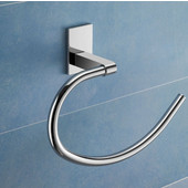 Wall Mounted Chrome Towel Ring, 6-2/5'' L x 8-7/10'' W x 2-3/5'' H, Chrome