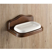 Wall Mounted Porcelain Soap Holder with Wood Base, 6-3/5'' L x 4-7/10'' W x 2-9/10'' H, Walnut
