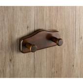 Wall Mounted Wood Double Hook, 6-3/5'' L x 0-4/5'' W x 2-9/10'' H, Walnut
