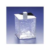 Windisch Crackled Glass Cotton Ball Jar in Satin Nickel
