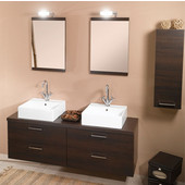 Iotti by  Aurora A11 Wall Mounted Double Sink Bathroom Vanity Set in Wenge, 60-4/5'' Wide (Includes: (2) Main Cabinets, Wooden Top, (2) Sinks, (2) Mirrors and (2) Vanity Lights)