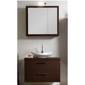 Iotti by  Aurora A15 Wall Mounted Single Sink Bathroom Vanity Set in Wenge, 30-2/5'' Wide (Includes: Main Cabinet, Wooden Top, Sink, Medicine Cabinet and Vanity Light)