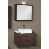 Iotti by  Aurora A18 Wall Mounted Single Sink Bathroom Vanity Set in Wenge, 30-2/5'' Wide (Includes: Main Cabinet, Wooden Top, Sink, Medicine Cabinet and Vanity Light)