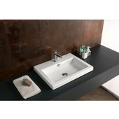 Built In or Wall Mounted Ceramic Washbasin with Overflow, No Holes, 23-3/5'' W x 17-7/10'' D,  White