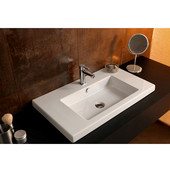 Built In or Wall Mounted Ceramic Washbasin with Overflow, 3 Holes, 31-1/2'' W x 17-7/10'' D,  White