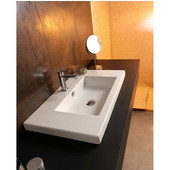 Built In or Wall Mounted Ceramic Washbasin with Overflow, 3 Holes, 39-2/5'' W x 17-7/10'' D,  White