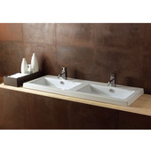 Built In or Wall Mounted Ceramic Double Washbasin with Overflow, No Holes, 47-1/5'' W x 17-7/10'' D, White