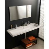 Built In or Wall Mounted Ceramic Washbasin with Overflow, 2 Holes, 47-1/5'' W x 17-7/10'' D,  White