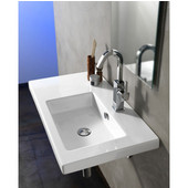 Built In or Wall Mounted Ceramic Washbasin with Overflow, No Holes, 31-1/2'' W x 17-7/10'' D,  White