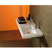 Built In or Wall Mounted Ceramic Washbasin with Overflow, Single Hole, 39-2/5'' W x 17-7/10'' D,  White