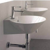 Cono 8010-R Wall Mounted Or Above Counter Bathroom Sink in White, Single Hole; Dia. 16-1/2''