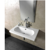 Built In or Wall Mounted Ceramic Washbasin with Overflow, Single Hole, 31-7/10'' W x 17-7/10'' D,  White