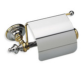 Wall Mounted Classic-Style Brass Toilet Roll Holder With Cover, 4-3/10'' H x 9-4/5'' W x 4-1/2'' D, Satin Nickel