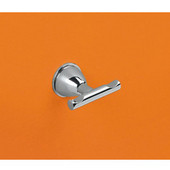 Wall Mounted Chrome Double Hook, 2-1/2'' L x 2-1/10'' W x 1-2/5'' H, Chrome