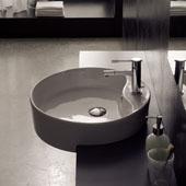 Geo 8029-D Semi Recessed Bathroom Sink in White, Single Hole; Dia. 18-1/10''