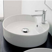 Geo 8029-R Above Counter Bathroom Sink in White, Single Hole; Dia. 17-7/10''