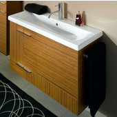 Iotti by  Simple NS1 Wall Mounted Single Sink Bathroom Vanity in Teak, 38-5/16'' Wide (Includes: Main Cabinet and Sink Top)