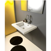Built In or Wall Mounted Ceramic Washbasin with Overflow, Single Hole, 27-3/5'' W x 21-3/10'' D,  White