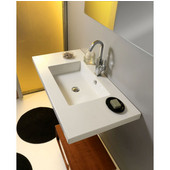 Built In or Wall Mounted Ceramic Washbasin with Overflow, 3 Holes, 41-3/10'' W x 21-3/10'' D,  White