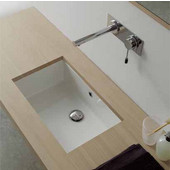 Miky 80 Under Counter Bathroom Sink in White;  34-1/2W'' x 12-1/5''D x x 8'' H
