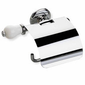 Wall Mounted Chrome Toilet Roll Holder with Cover and End Cap, Chrome and White