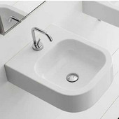 Next 40-B Wall Mounted Or Above Counter Bathroom Sink in White Single Hole; 15-4/5'' x 19-7/10''