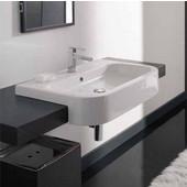 Next 80-D Semi Recessed Bathroom Sink in White; 31-9/10'' x 19-7/10''