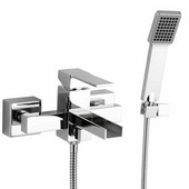 Remer Qubika Cascade Collection Diverter with Hand Shower, Chrome, 5-9/10''W x 6-8/9''D