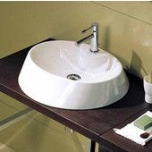 Rugby 45-R Above Counter Bathroom Sink in White, Single Hole; 17-3/5'' x 17-7/10''