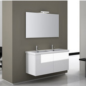Iotti by  Space SE06 Wall Mounted Double Sink Bathroom Vanity in Multiple Finishes, 47-1/5'' Wide (Includes: Main Cabinet, Sink Top, Mirror and Vanity Light)