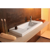 Built In or Wall Mounted Ceramic Washbasin with Overflow, No Holes, 31-1/2'' W x 13-4/5'' D,  White