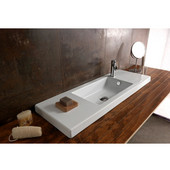 Built In or Wall Mounted Ceramic Washbasin with Overflow, Single Hole, 39-2/5'' W x 13-4/5'' D,  White