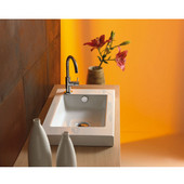 Built In or Wall Mounted Ceramic Washbasin with Overflow, Single Hole, 23-3/5'' W x 13-4/5'' D,  White
