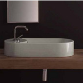 Seventy 87 Above Counter Bathroom Sink in White, Single Hole 34-3/10'' x 13-4/5''