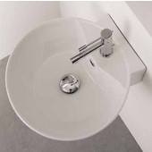 Sfera 8009-R Wall Mounted Or Above Counter Bathroom Sink in White, Single Hole; Dia. 15-4/5''