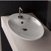 Shape 70 Above Counter Bathroom Sink in White, Single Hole 27-3/5'' x 15-2/5''