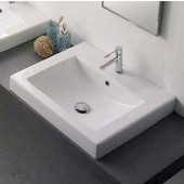 Square 8007-A Built-in Bathroom Sink in White, Single Hole; 23-3/5'' x 20-1/10''