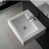 Square 8025-B Above Counter Bathroom Sink in White, Single Hole; 20-1/10'' x 18-1/10''
