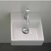 Teorema 30 Wall Mounted Or Above Counter Bathroom Sink in White, Single Hole; 11-4/5'' x 11-4/5''