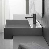 Teorema 8031-D Semi Recessed Bathroom Sink in White, Single Hole; 18'' W x 18'' D x 6'' H