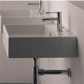 Teorema R 40 Wall Mounted Or Above Counter Bathroom Sink in White, Single Hole; 15-7/10'' x 15-7/10''