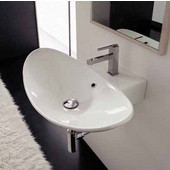 Zefiro 70-R Wall Mounted Or Above Counter Bathroom Sink, in White, Single Hole; W 26-4/5'' x 19-7/10''