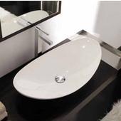 Zefiro 70 Above Counter Bathroom Sink, in White; W 27-1/5'' x 14-3/5''