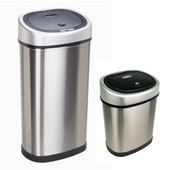 50 Liters (13.2 Gallons) and 12 Liters (3.2 Gallons) Infrared Motion Sensor Trash Can Combo in Stainless Steel