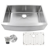 Brushed Satin Pro Series Small Radius Farmhouse Apron Front Stainless Steel Sink, 33''W X 22-1/4''D x 10''H