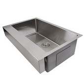 Pro Series Collection Patented Design Stainless Steel Front Apron Kitchen Sink in Brushed Satin Stainless Steel, 30''W x 21-1/4''D x 10''H