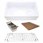 33'' Wide Reversible Workstation Farmhouse Fireclay Sink with Offset Drain and Accessories