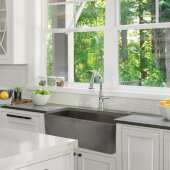 Vineyard Collection 30'' Farmhouse Fireclay Sink with Concrete Finish, 29-3/4'' W x 19-3/4'' D x 10'' H